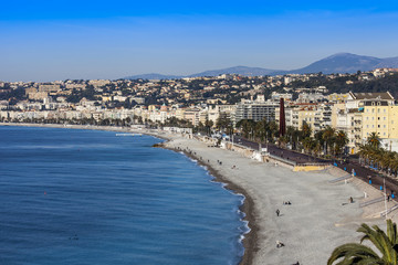 Nice, France. The top view on a beach and Promenad Angles