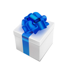 vector realistic 3d present box with bow tie