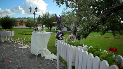 Wedding flowers in nature. Wedding decorations.