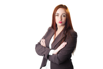 Redhead Business woman portrait with disgust face expressi