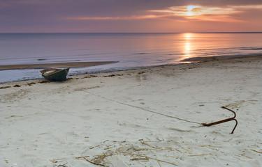 Colorful sunrise at village of fishermen, Baltic Sea, Latvia