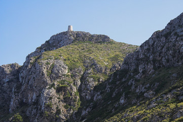 Ancient watchtower in mountains. Formentor, Majorca, Spain