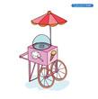 Ice cream cart, vector illustration