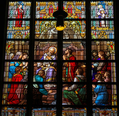 Stained Glass of The Sacrament of Confession or Penitance