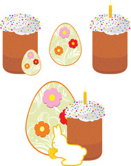 Easter cake and Easter eggs isolated on the white