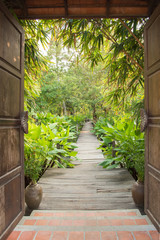 entrance gate to tropical garden © aon168