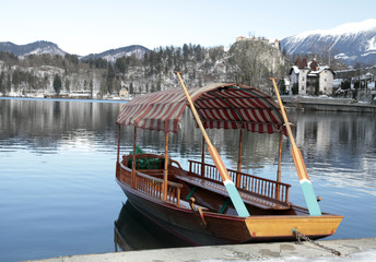 traditional Slovenian boat on Lake Bled, Slovenia