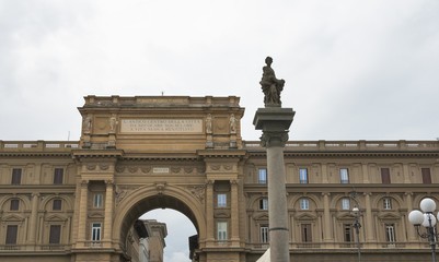 Arch with inscription on Piazza della Repubblica in Florence
