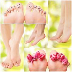 schöne gesunde Füße vor grünen Hintergrund