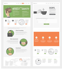 Website template with concept icons for business company