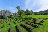 Benches on green lawn at Ogrodzieniec castle in spring, Poland - 80758579