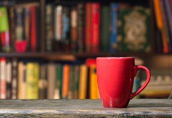 Cup in a library