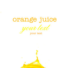 Splashes of orange juice on a white background