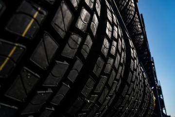 row of tyres, low view