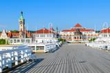 Wooden pier in Sopot seaside town in summer, Baltic Sea, Poland - 80759507