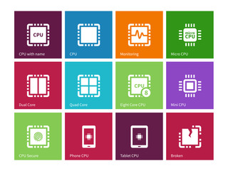 Processor. Computer hardware. icons on color background.