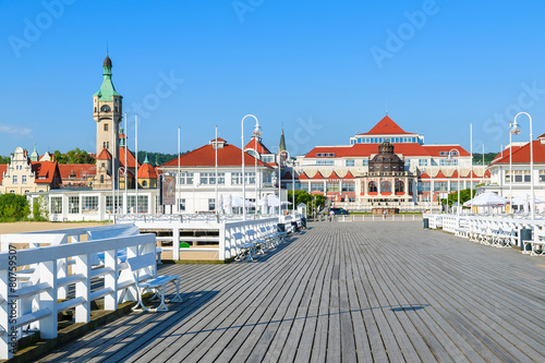 Wooden pier in Sopot seaside town in summer, Baltic Sea, Poland - 80759507