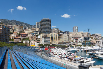 Monaco. Empty tribunes before the Monaco GP
