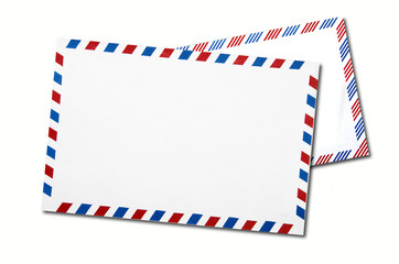 two classic air mail envelope isolated