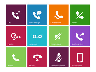 Call and handset icons on color background.