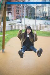 young beautiful asian hipster woman