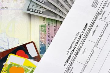 Travel concept. Passport, dollars, visa, money,schengen