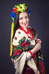 beautiful young woman wearing national ukrainian clothes