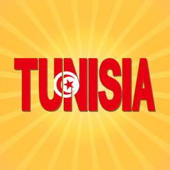 Tunisia flag text with sunburst illustration