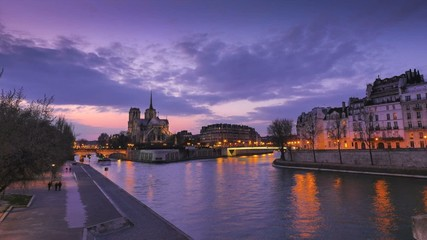 Sunset-Notre Dame Cathedral, Paris, France