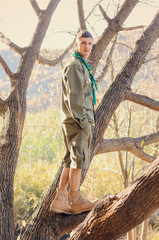 Portrait of Boy Scout Standing in Tree