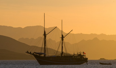 Yacht in the bay. Komodo National Park. Landscape. The island.
