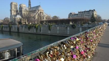 Pont des Arts-Notre Dame Cathedral, Paris, France