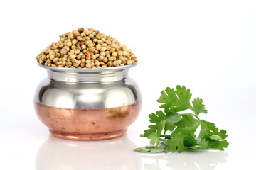 Bowl of coriander seeds and leaves on white