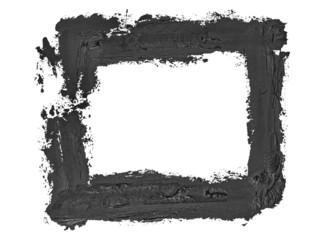 black square grunge brush strokes oil paint isolated on white