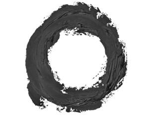 black round grunge brush strokes oil paint isolated on white
