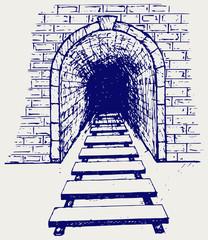 Railway tunnel. Doodle style