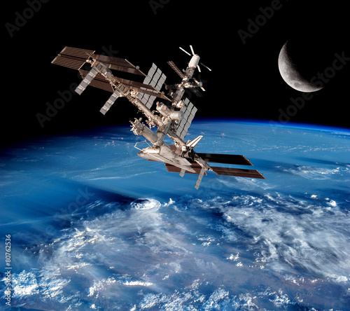 Poster Ruimtelijk Earth Satellite Space Station