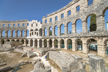 Wall fragment of antique Roman amphitheater in Pula