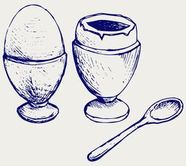 Boiled egg breakfast. Doodle style