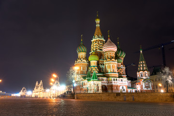 Spectacular view of St. Basil's Cathedral at night, Moscow