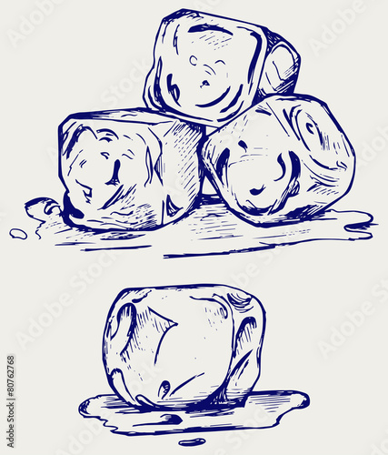 Bunch of ice cubes. Doodle style - 80762768