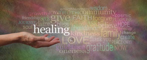 Healing Words Parchment Website Header