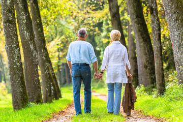 Senior Mann und Frau halten Hand bei Spaziergang