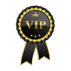 "Black and gold ""Vip"" rosette with ribbon"