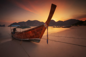 andaman long tailed boat southern of thailand on the sunset beac