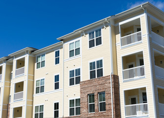 Typical suburban apartment building exterior details