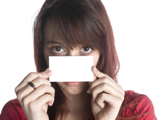 Woman Holding an Empty Card Close to her Face
