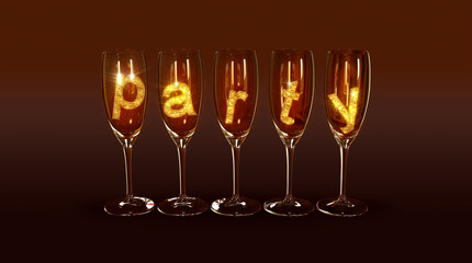 """A few glasses with the text """"party"""""""