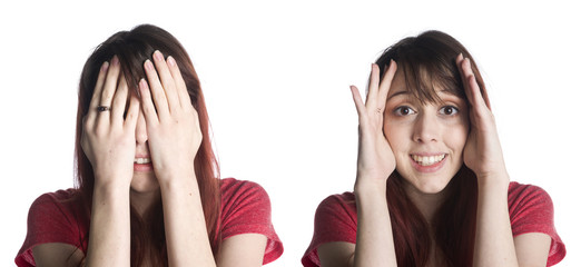 Woman with Hands on the Face for Surprise Concept