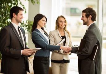 business people congratulating their handshaking